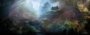 XIAO AO JIAN GHU Game scene illustration by white70WS
