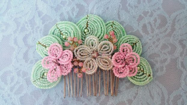 Pastel French Beaded Hair Comb by EverAfterArtisanry