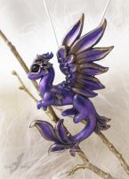 Royal violet dragon necklace by AlviaAlcedo