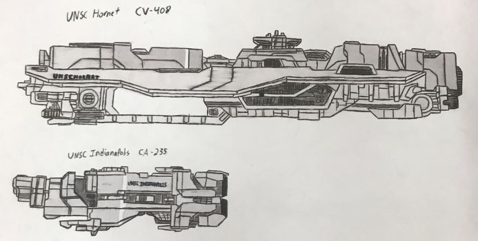 UNSC Hornet and UNSC Indianapolis by SBB-67Montana