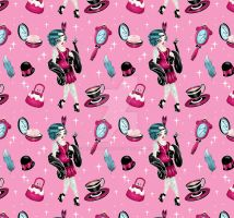 Flapper Girl Pattern on Pink by Miss-Cherry-Martini
