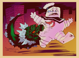 Godzilla snacking on Stay Puft Marshmallow Man by Dextorius