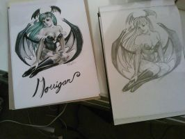 Morrigan copic sketch! by VictraART