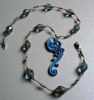 Gargoyle In Grey Skies Blue Patina Necklace by A-Sharper-Spectrum