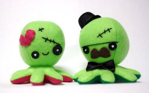 Custom Frankenstein octo plushies by jaynedanger