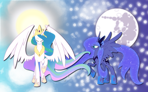 Luna and Celestia wallpaper 6 by AliceHumanSacrifice0