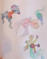 Watercolor Monsters 1 by gyerase