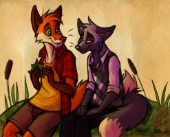 Sitting by the Cattails by Vicnor