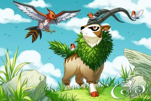 Pokemon - Gogoat, Fletchling and Talonflame