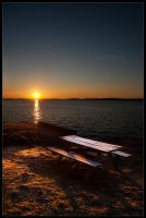 The Old Bench and the Sea by Silverbeck