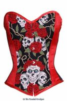 Skull and Roses corset by viogeminidesigns