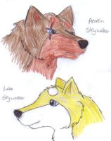 Anakin and Luke as wolves by 1shewolf1