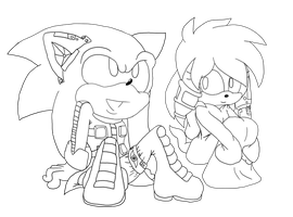 Sonic and Julie-su LineArt by ncond3