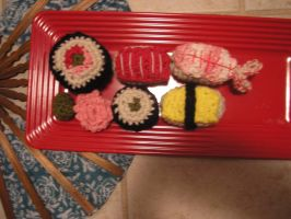 Crocheted Sushi by abendstille