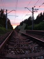 Railroad in the evening by KidKek