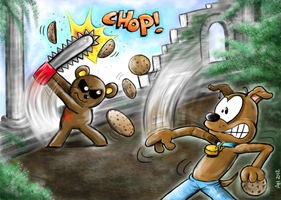 WIFL Teddae vs. Slushy the Dog by hankinstein
