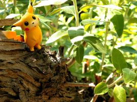 Pikachu climbs a tree by Bimmi1111