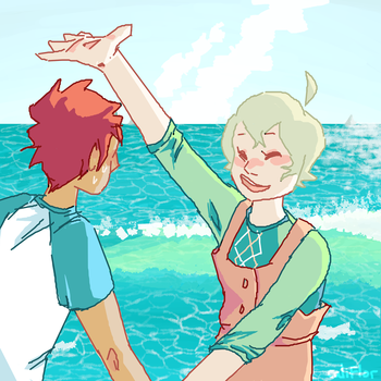 haru dragging yuki to his Watery Demise by whalewithay