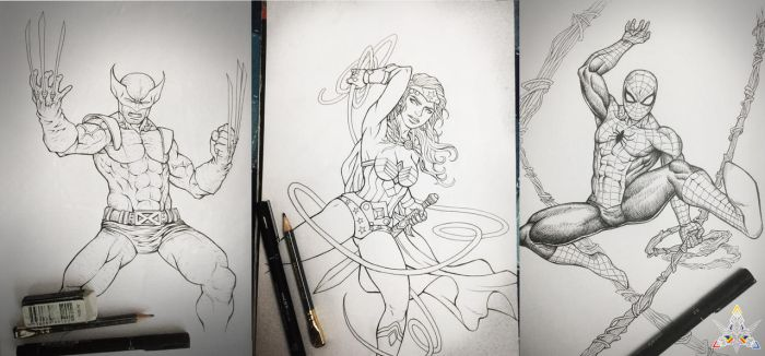 Lineart Heroes - Wolverine-Wonder Woman-Spiderman by feintbellt