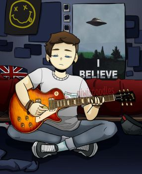 Sky (my oc) practicing with his guitar by Amnesia5sos