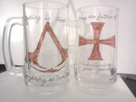 Hand Painted Assassins Creed Glasses by redstrikerborg