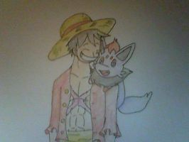 OP and PKMN: Luffy and Zorua by XfangheartX