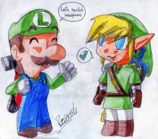 Luigi and link 1 by reversh