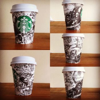 Starbucks cup art by MikhaKawahara
