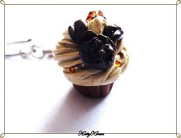 Mocha Coffee Cupcake Keychain by Cateaclysmic