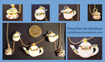 Floral Tea Set Pendant - SOLD by Bittythings