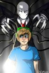 Pewdiepie and Slenderman(re-redrawn) by DEMONsnowy