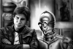 Han Solo and C-3PO by Hannerh