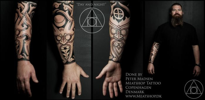 Day and night nordic tattoo by Meatshop-Tattoo