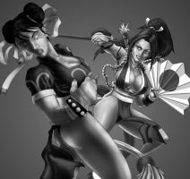 Mai vs. Chun Li Grayscale by Sgrum