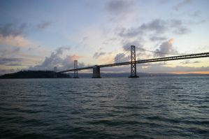 Oakland Bay Bridge Moments Before Sunrise by mirengraphics