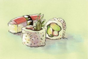 California Roll Postcard by AniseShaw