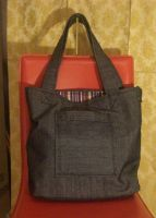 Denim and Pinstripe Tote by EekBouteek