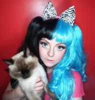 Stock Dolly eye makeup and kawaii cat by cherrybomb-81