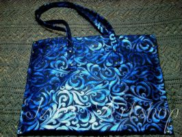 Damask-like sapphire leather tote bag by izasartshop