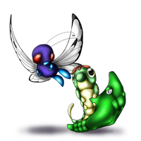 Caterpie and evos by AFrozenHeart2