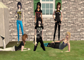 Me and my friends in Sims 2 by angia101