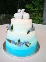 Teal Ombre Ruffle Cake by BrightlyWound455