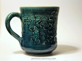 Cherry Blossom Handle Mug by skimlines