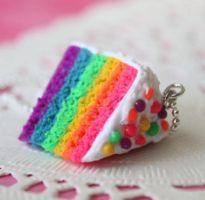 Rainbow Cake Necklace by Glowpr