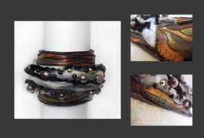Leather cuff bracelet with nee by julishland