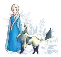 Queen Elsa and Glaceon by leafeon-ex