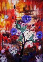 Abstract Flowers (acrylic) by AlexandraDart