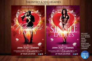 Valentines Day / Single Ladies Flyer Template by Grandelelo