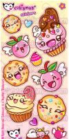 Desserts and Flying Cherries Stickers by Cukismo