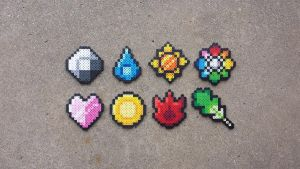 Kanto Gym Badges 2.0 - Pokemon Perler Bead Sprites by MaddogsCreations